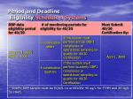 period and deadline eligibility schedule 4 systems