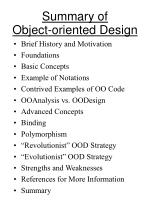 summary of object oriented design