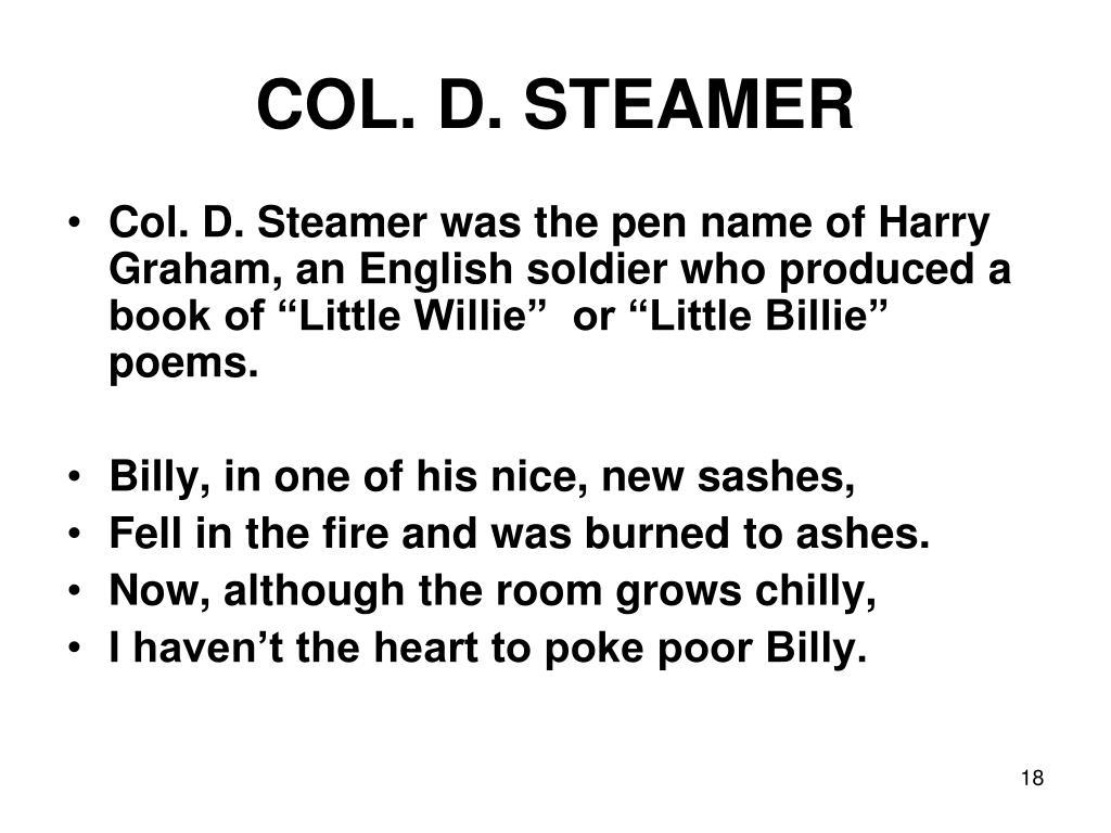 COL. D. STEAMER