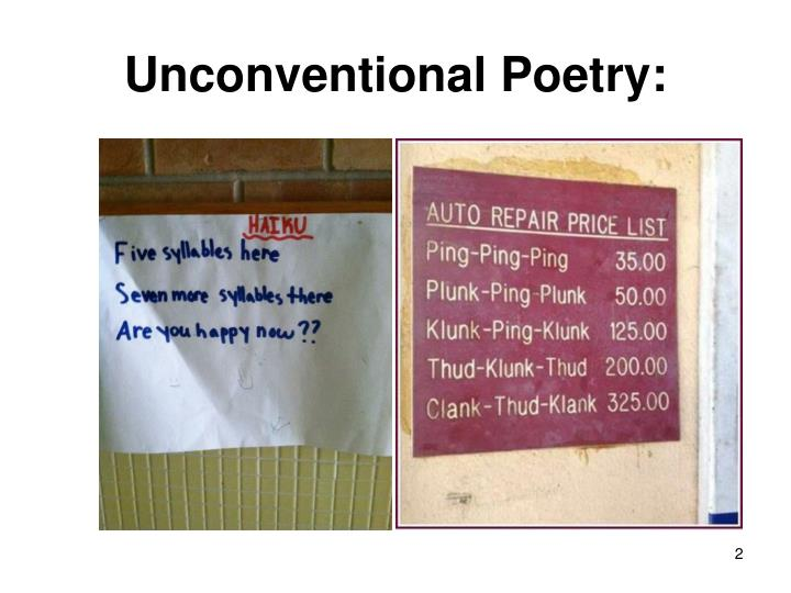 Unconventional poetry