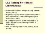 apa writing style rules abbreviations