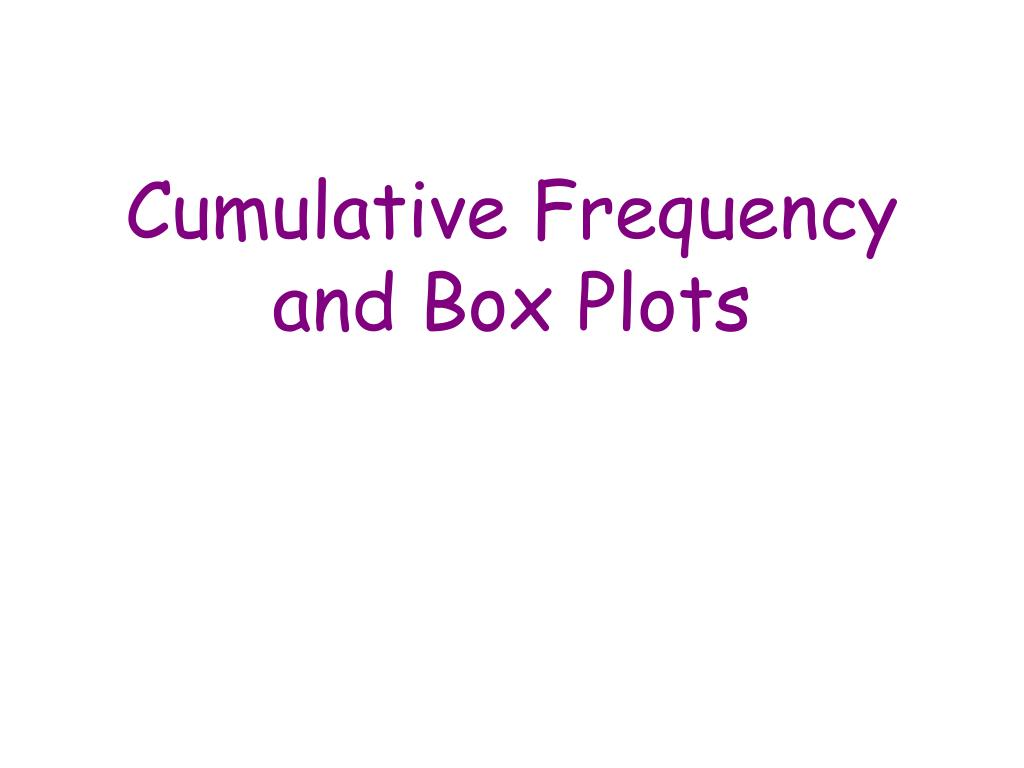 cumulative frequency and box plots l.