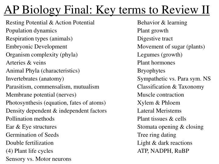 Ap biology final key terms to review ii