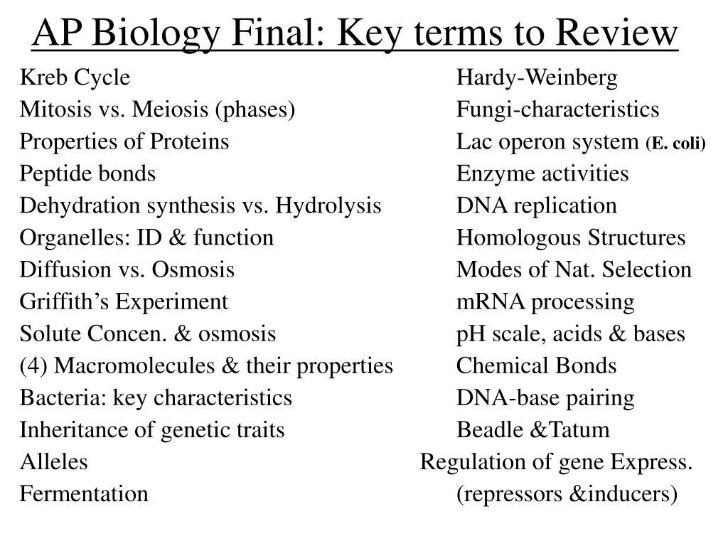 AP Biology Final: Key terms to Review