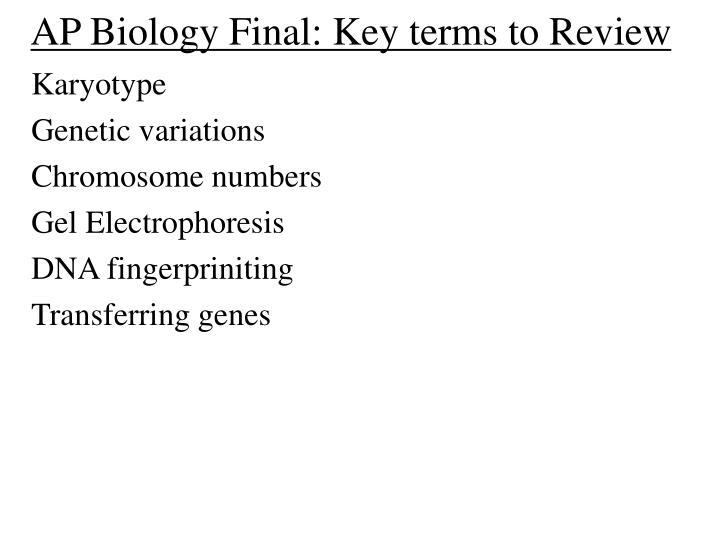Ap biology final key terms to review2