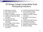 ap biology college comparability study participating institutions