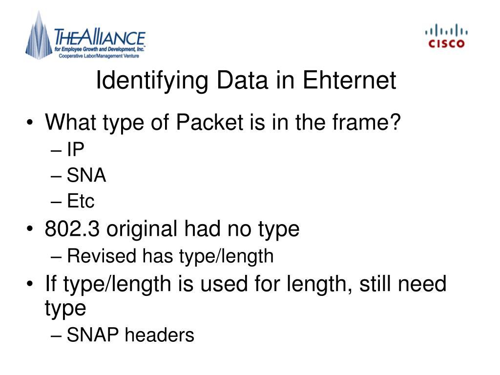 Identifying Data in Ehternet