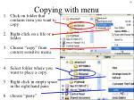 copying with menu