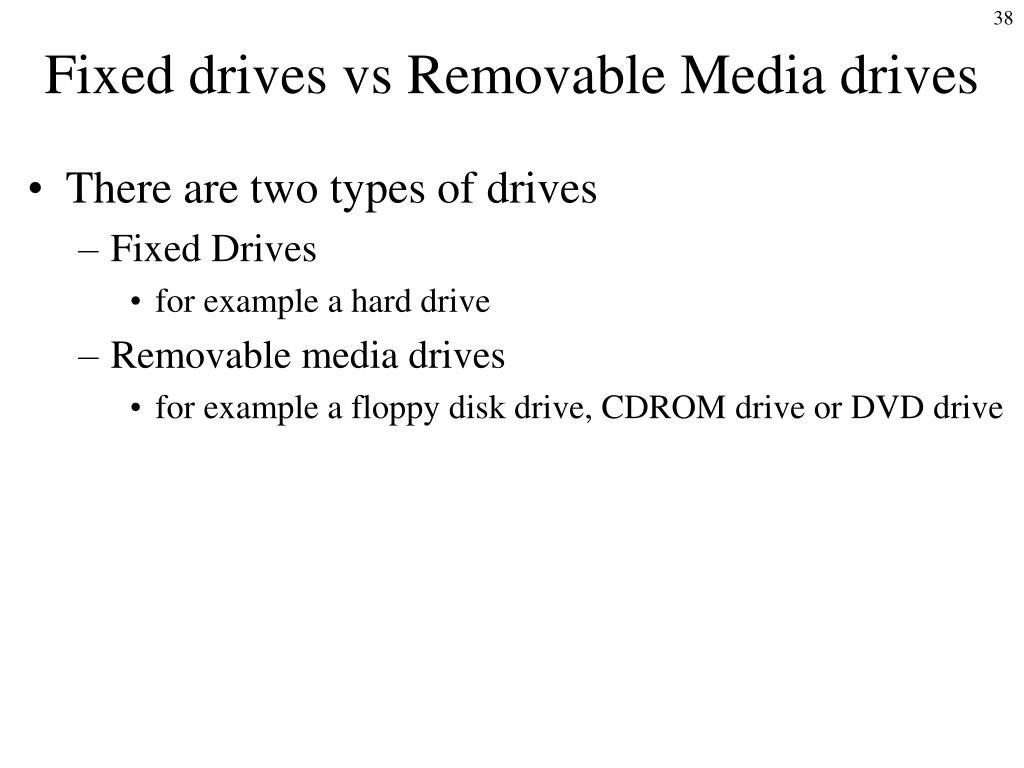 Fixed drives vs Removable Media drives