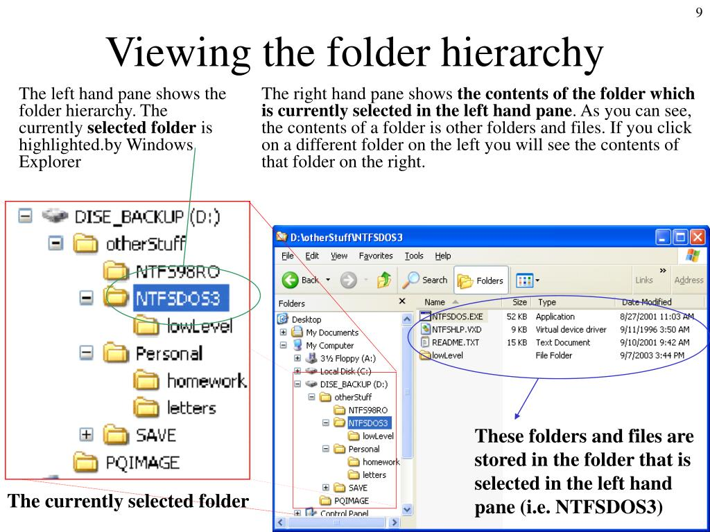 The left hand pane shows the folder hierarchy. The currently