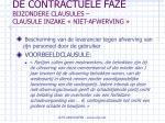 de contractuele faze bijzondere clausules clausule inzake niet afwerving