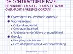 de contractuele faze bijzondere clausules clausule inzake overmacht vreemde oorzaak