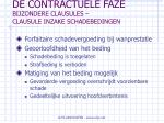 de contractuele faze bijzondere clausules clausule inzake schadebedingen