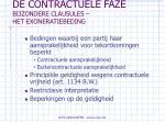 de contractuele faze bijzondere clausules het exoneratiebeding