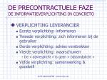 de precontractuele faze de informatieverplichting in concreto