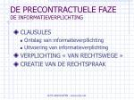 de precontractuele faze de informatieverplichting