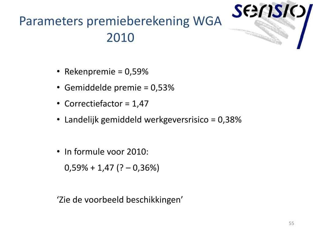 Parameters premieberekening WGA 2010