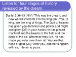 listen for four stages of history revealed by the dream