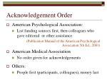 acknowledgement order