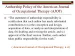 authorship policy of the american journal of occupational therapy ajot
