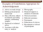 examples of contributions appropriate for acknowledgement