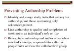 preventing authorship problems