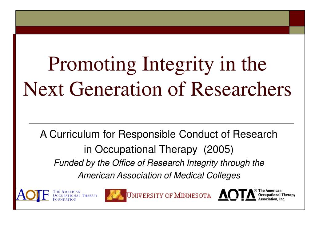 promoting integrity in the next generation of researchers l.
