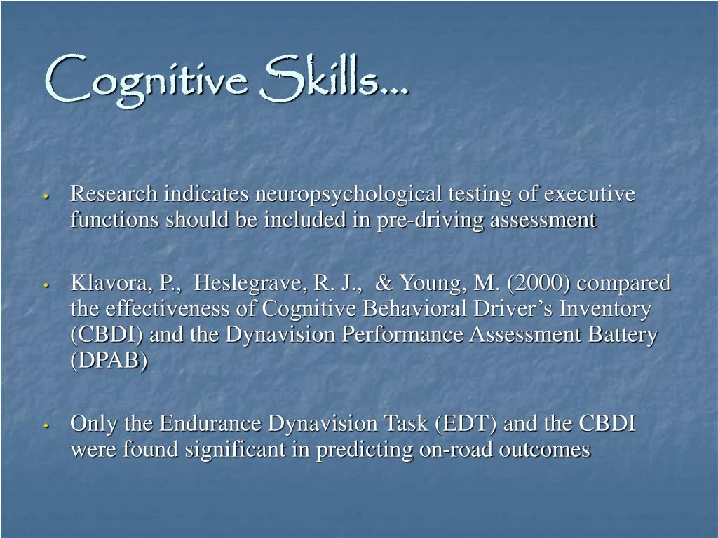 Cognitive Skills…