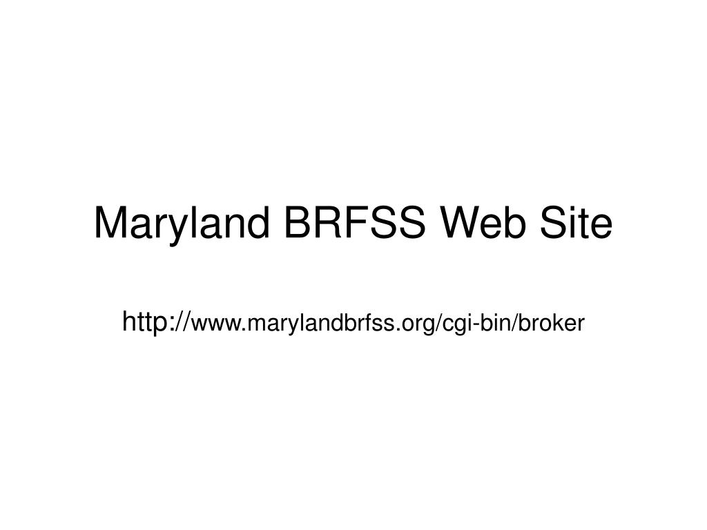 Maryland BRFSS Web Site