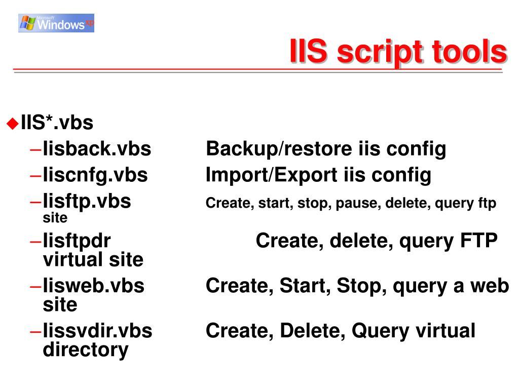 IIS script tools