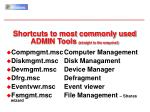 shortcuts to most commonly used admin tools straight to the snap ins