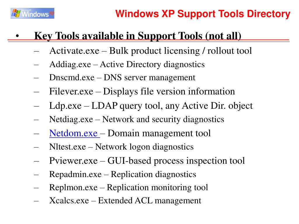 Windows XP Support Tools Directory