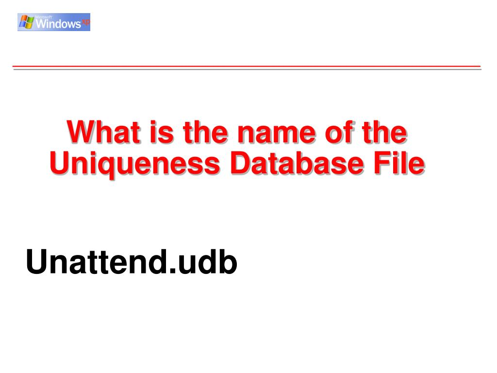 What is the name of the Uniqueness Database File