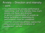 anxiety direction and intensity cont