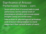 significance of arousal performance views cont