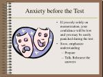 anxiety before the test
