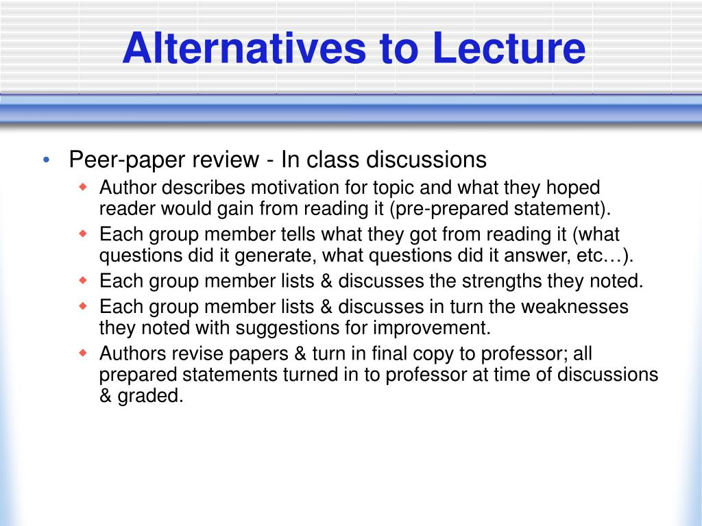 Alternatives to Lecture