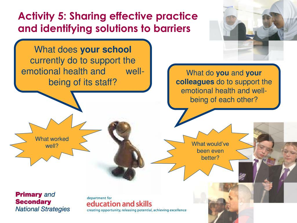 Activity 5: Sharing effective practice and identifying solutions to barriers