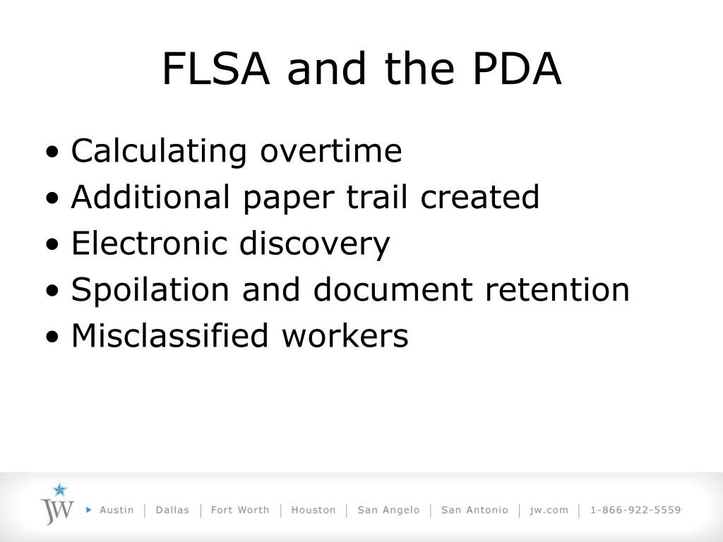 FLSA and the PDA