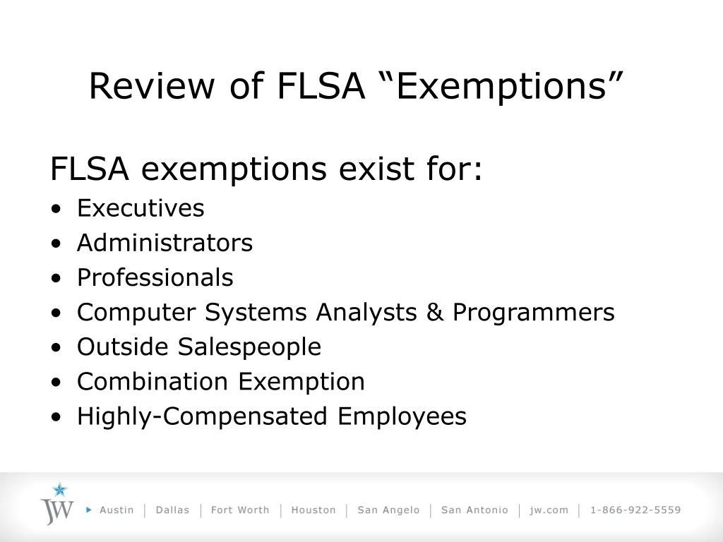 "Review of FLSA ""Exemptions"""