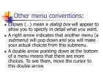other menu conventions