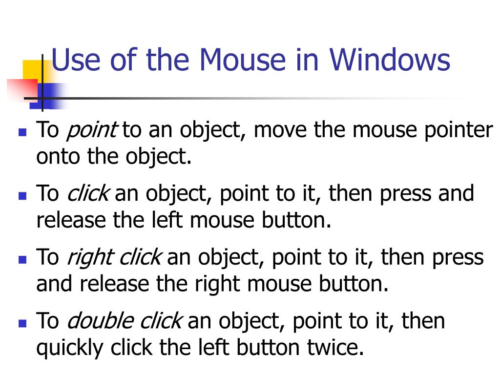Use of the Mouse in Windows