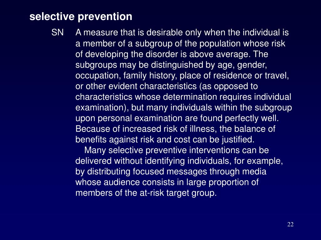 selective prevention
