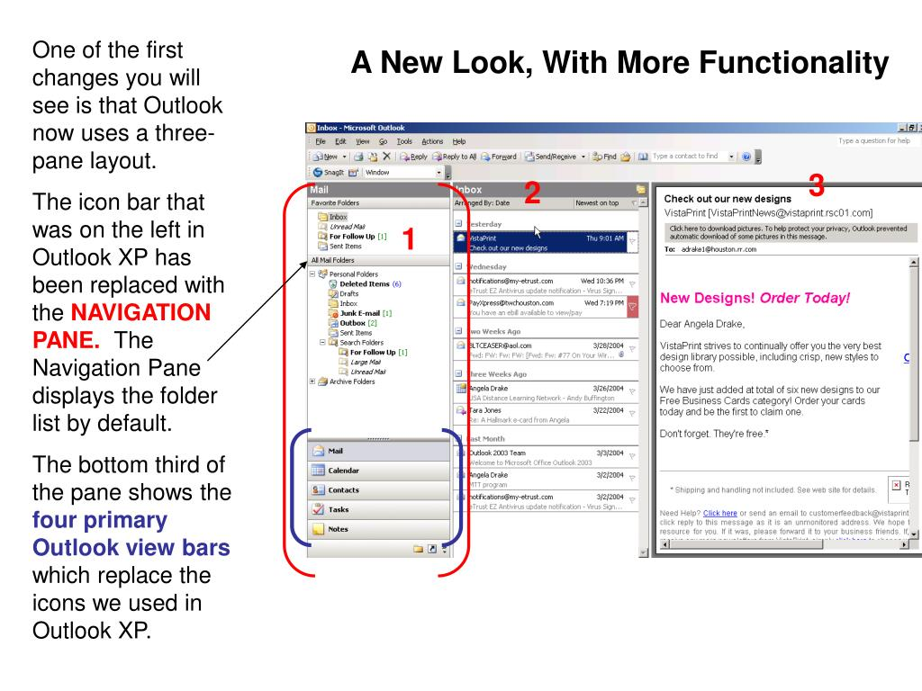 One of the first changes you will see is that Outlook now uses a three-pane layout.