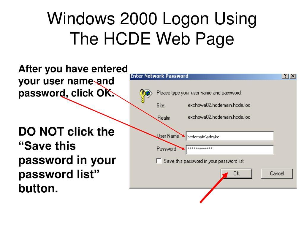 Windows 2000 Logon Using