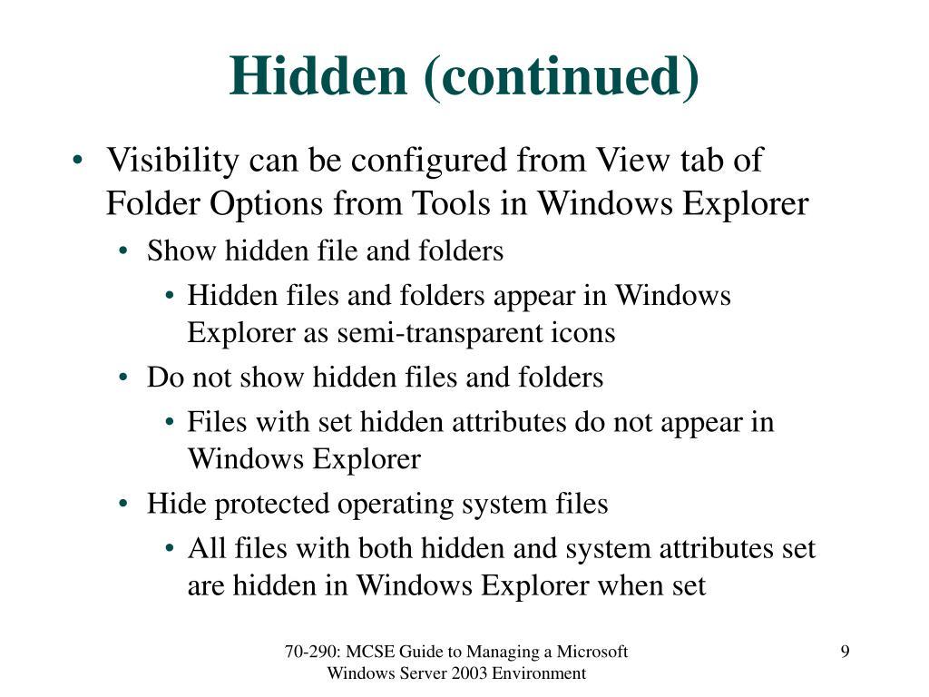 Hidden (continued)