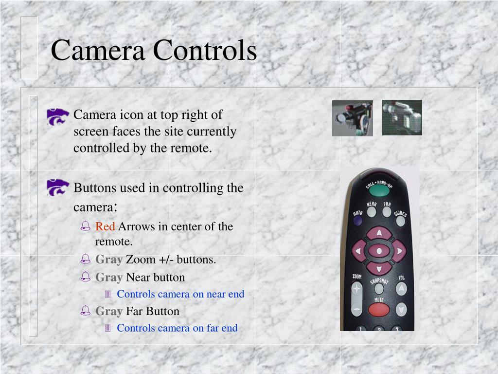 Camera icon at top right of screen faces the site currently controlled by the remote.