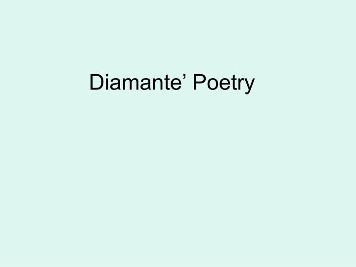 diamante poetry n.