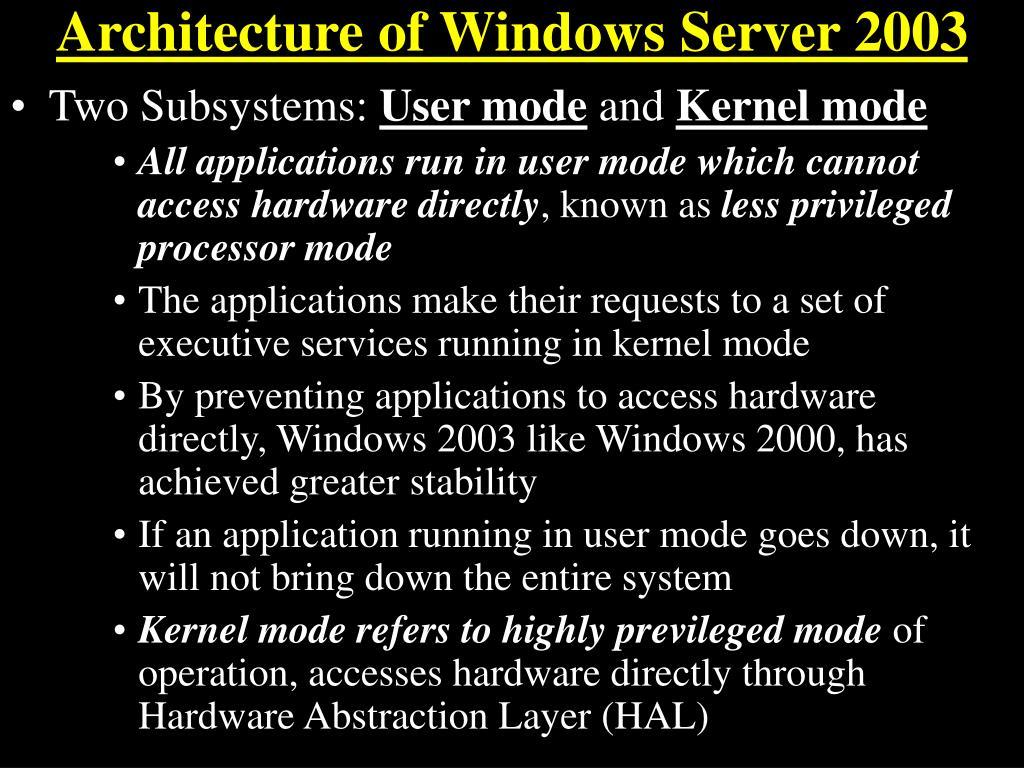 Architecture of Windows Server 2003