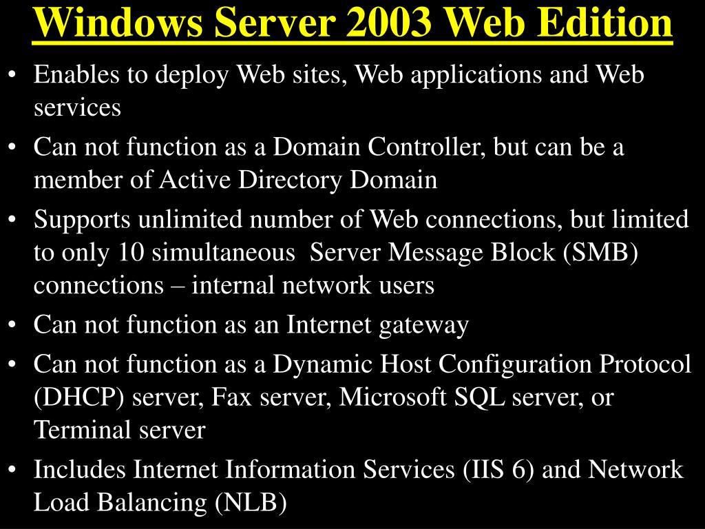 Windows Server 2003 Web Edition